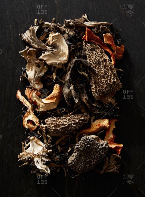 Dried mushrooms on a dark background
