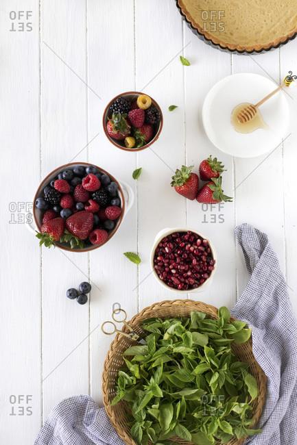 Ingredients for summer berry tart