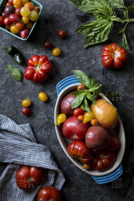 A variety of tomatoes and basil