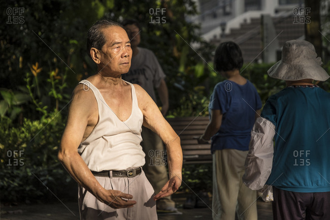 Hong Kong, China - June 11, 2015: Early morning Tai Chi exercise