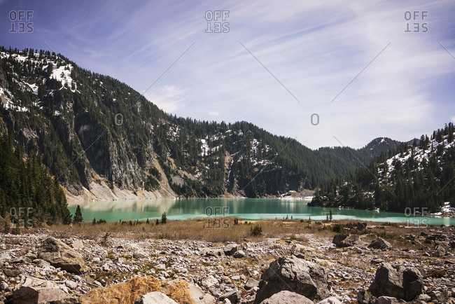A pristine mountain lake