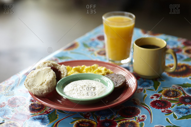 Southern style breakfast with coffee and juice