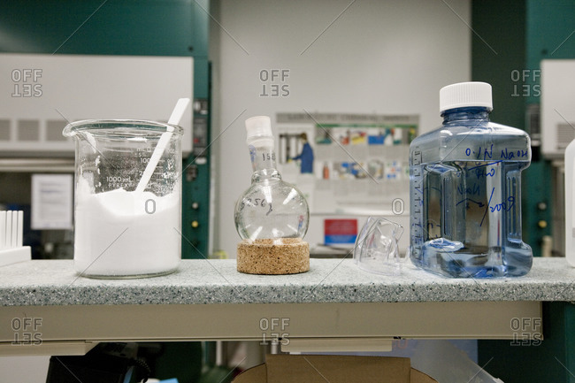 Substances and equipment in a chemistry lab
