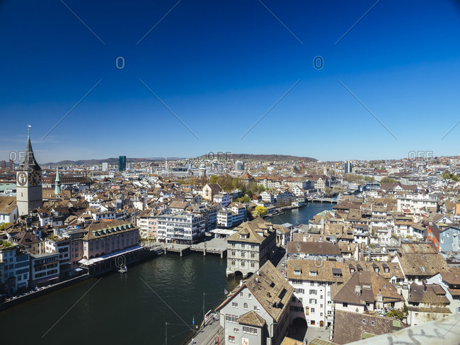 Cityscape and Limmat river with Townhall, St. Peter's church, Observatory and Prime Tower, Zurich