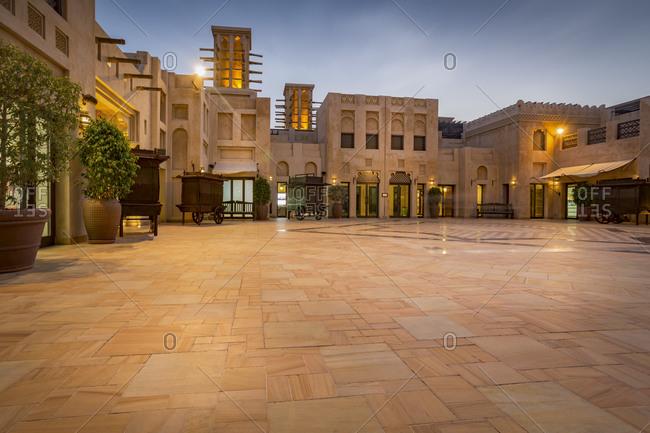 Dubai, UAE - July 10, 2015: Atrium of Souk Madinat in the evening