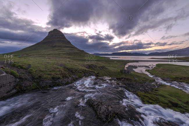 Pointed hill in remote Icelandic landscape