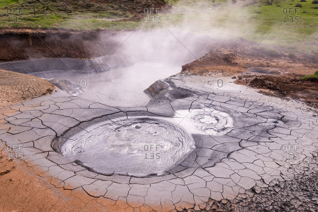Hot spring steaming in Iceland