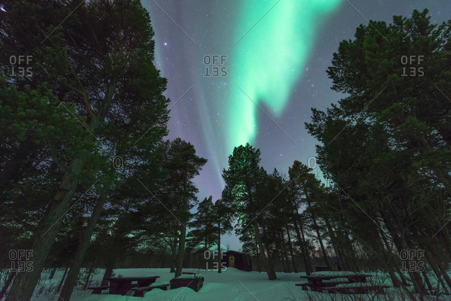 Aurora Borealis lights over Arctic Circle