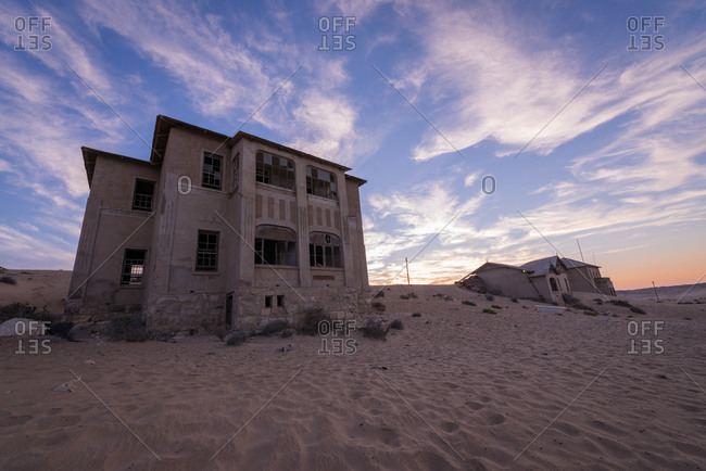 Abandoned buildings in Namibian desert