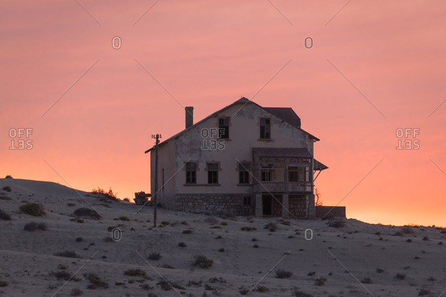 Abandoned building in Namibian desert