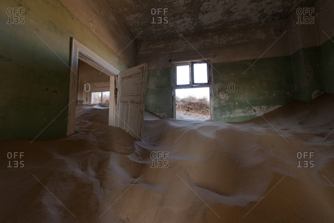 Inside abandoned building in Namibian desert