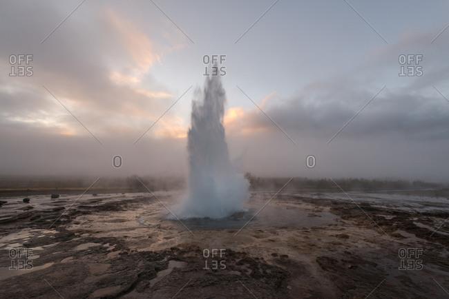 Geyser erupting in Iceland - Offset