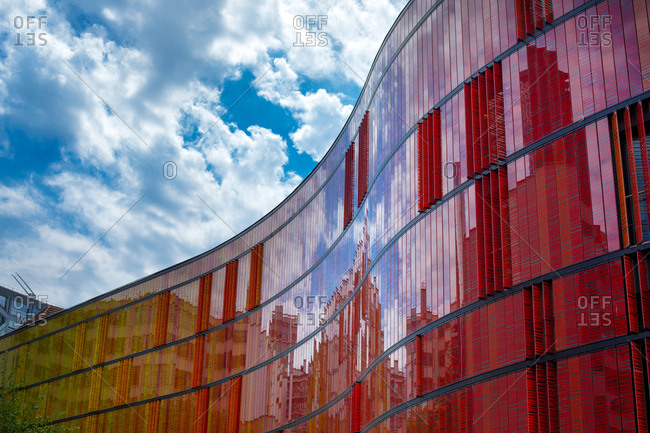 Paris, France - May 13, 2015: Curved wall of modern building in Paris