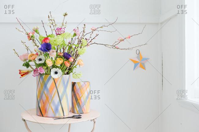 Orange and blue ceramic vases