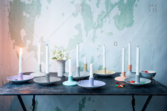 Ceramic candle holders on a table