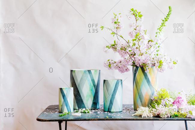 Green and blue ceramic vases