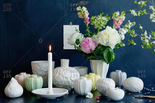 A variety of pretty ceramic vases
