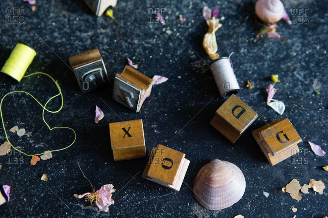 Stamps, shells, and thread - Offset