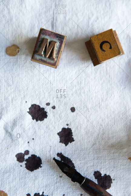 Stamps and ink on a cloth