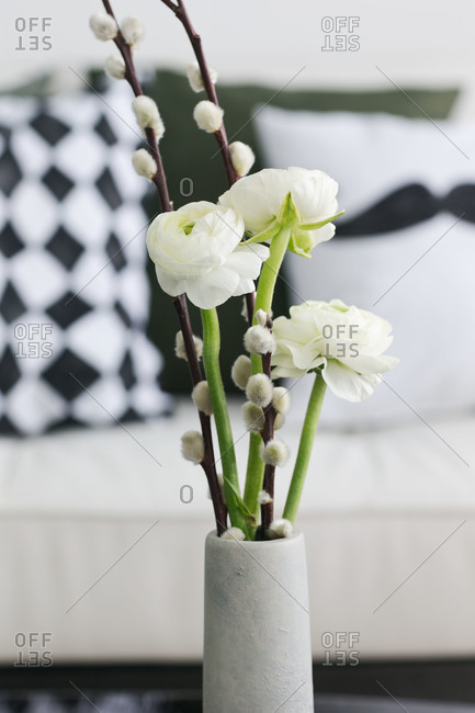 Close up of white flowers and pussy willow branches in a vase