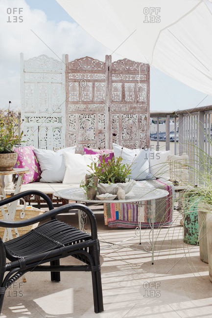 A luxuriously decorated patio in Sweden