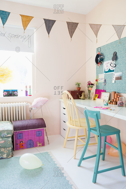 A desk in a playroom in a house in Sweden