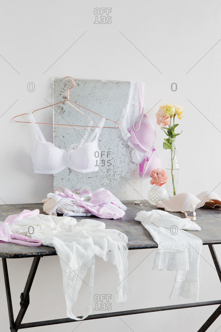 White lingerie on a table
