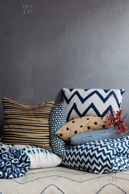 Blue and tan pillows