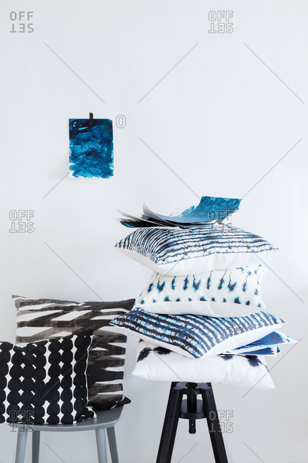 Black, white and indigo throw pillows