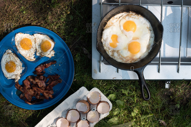 Breakfast on a camp stove