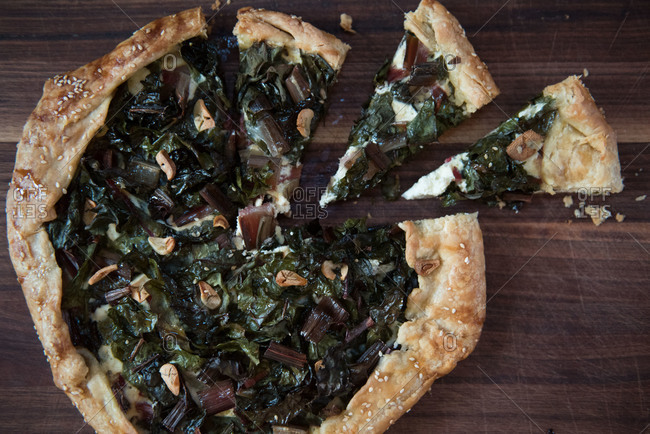 Swiss chard galette with slices cut