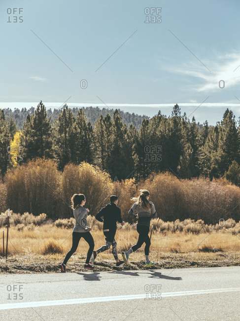 Three runners in the wilderness