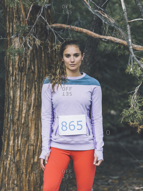 Female athlete in the woods