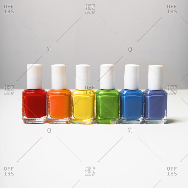 Nail polish in rainbow colors