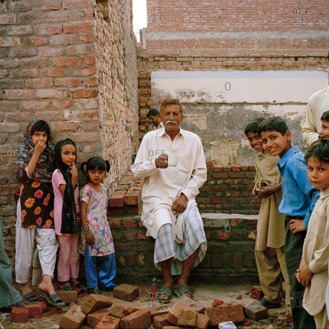 Lahore, Pakistan - March 1, 2009: Old man and children in Pakistan