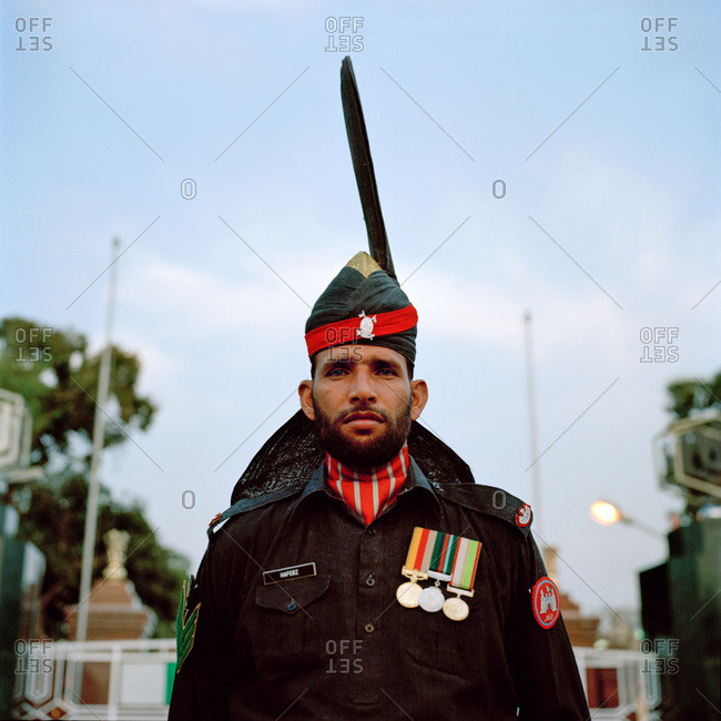 Lahore, Pakistan - March 1, 2009: Portrait of Pakistani male soldier
