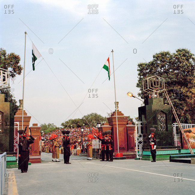 Lahore, Pakistan - March 1, 2009: Changing of the Guard cermony at Wagah Border. The Pakistani side of the border between Pakistan and India