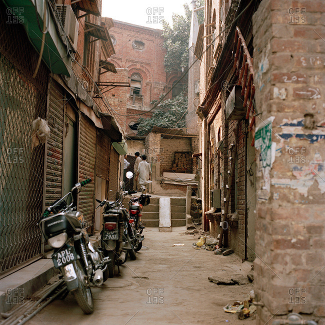 Lahore, Pakistan - March 1, 2009: Narrow street in Lahore