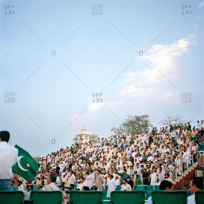 Lahore, Pakistan - March 1, 2009: Crowds gathered at outdoor stadium in Lahore