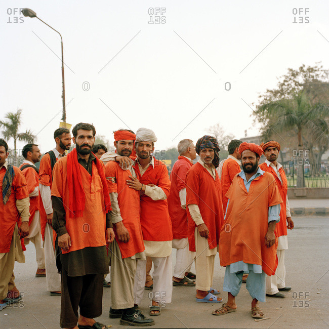 Lahore, Pakistan - March 1, 2009: Coolies (porters) at Lahore Railway Station in their uniforms