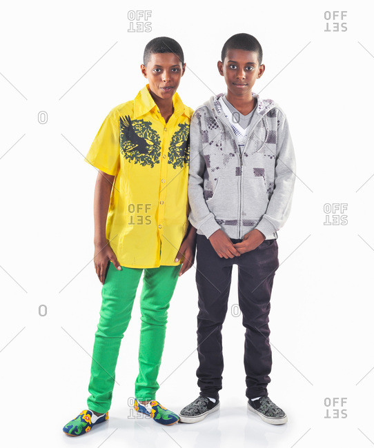 Dhahran, Eastern Province, Saudi Arabia - November 28, 2009: Two male Saudi Arabian teens in stylish clothes