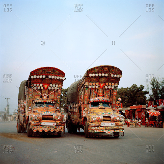Decorated trucks at the Wagah border