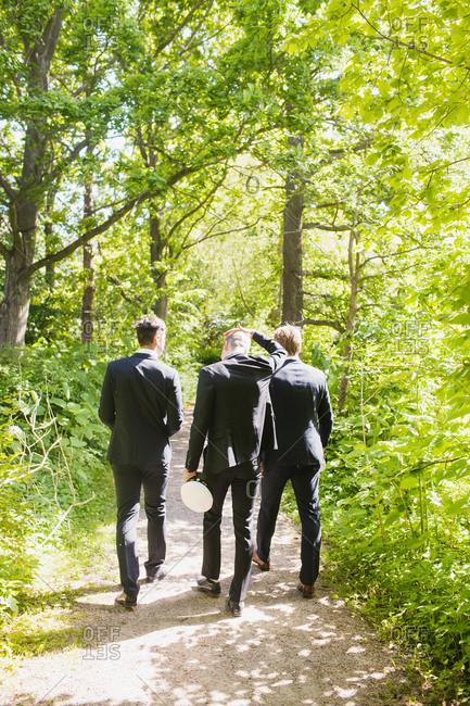 Three friends walking on a trail