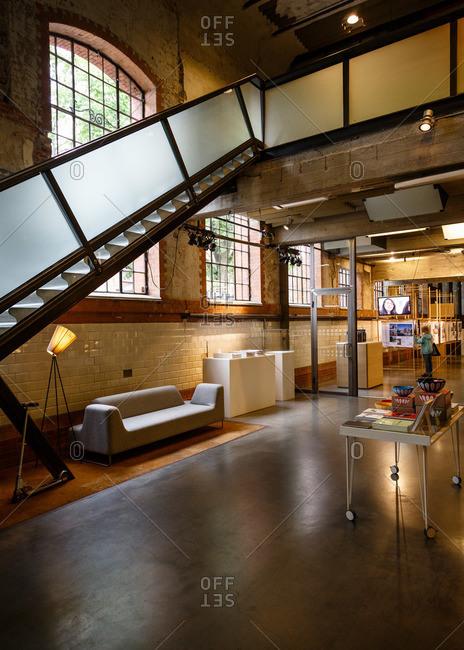 Oslo, Norway - June 28, 2015: The interior of the DogA Norwegian Centre for Design & Architecture, Grunerlokka neighborhood, Oslo, Norway
