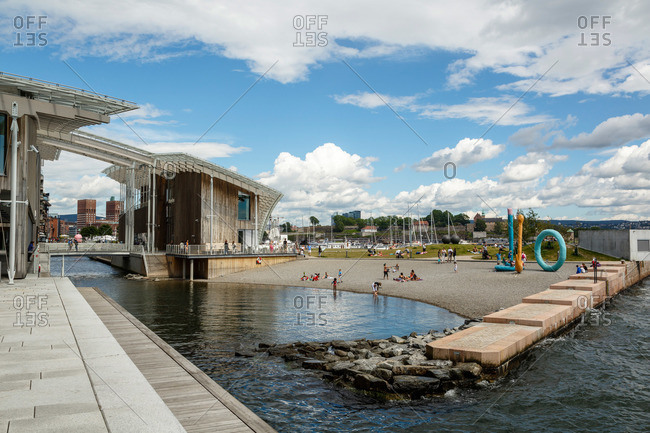 Oslo, Norway - June 29, 2015: Tjuvholmen Sculpture Park at Astrup Fearnley Museum, part of the Tjuvholmen Icon Complex, Aker Brygge, Oslo, Norway