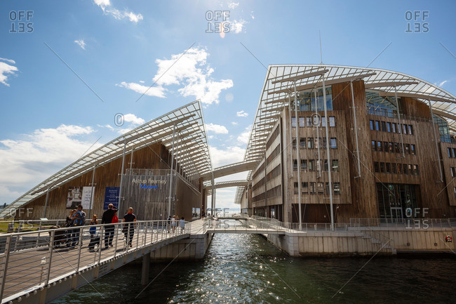 Oslo, Norway - June 29, 2015: The Astrup Fearnley Museum, in the Tjuvholmen Icon Complex, Aker Brygge, Oslo, Norway