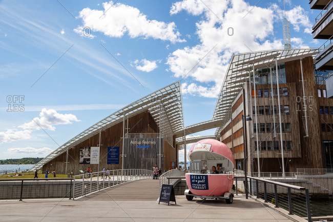 Oslo, Norway - June 30, 2015: A gelato stand outside of the Astrup Fearnley Museum, Tjuvholmen Icon Complex, Aker Brygge, Oslo, Norway