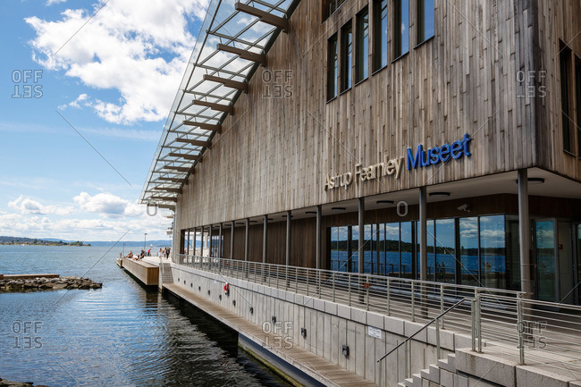 Oslo, Norway - June 30, 2015: The facade of the Astrup Fearnley Museum, part of the Tjuvholmen Icon Complex, Aker Brygge, Oslo, Norway