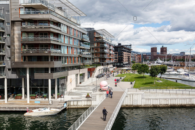 Oslo, Norway - June 30, 2015: Modern residential building at the Tjuvholmen Icon Complex, Aker Brygge, Oslo, Norway