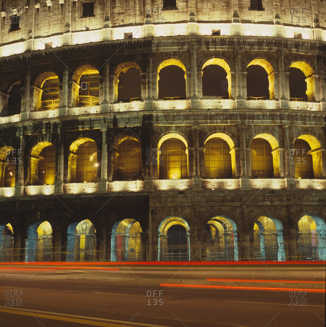The Colosseum at night in Rome, Italy
